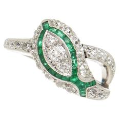 1930s Emerald Diamond Platinum Snake Ring
