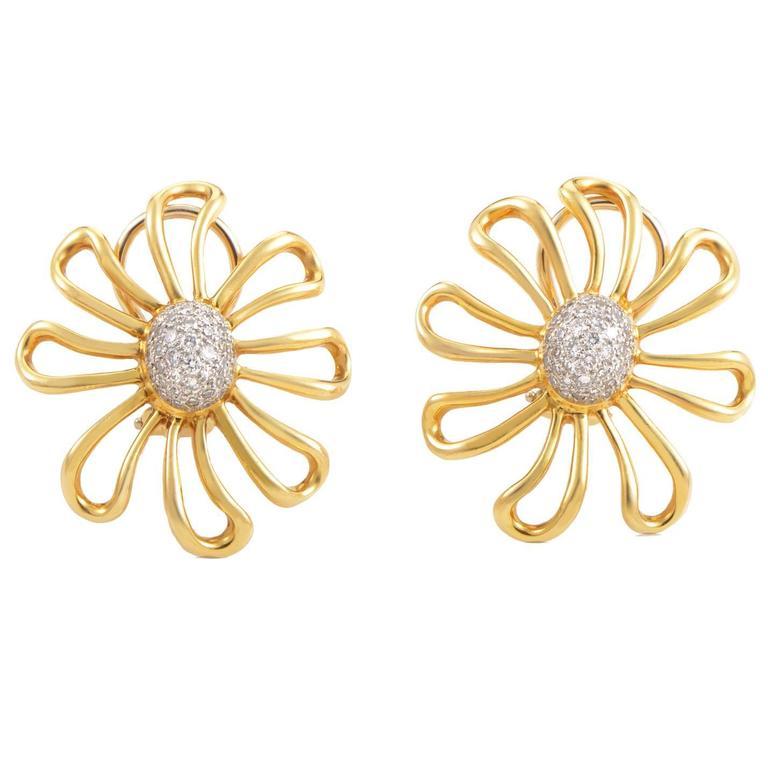 Tiffany & Co. Paloma Picasso Diamond Gold Platinum Earrings 1