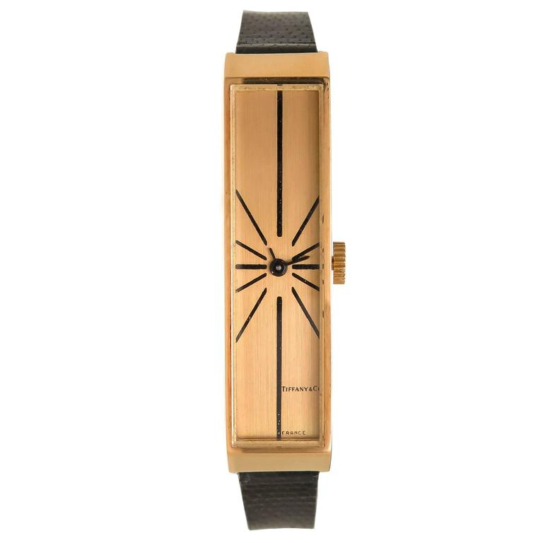 Tiffany & Co. Yellow Gold Elongated Wristwatch For Sale