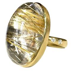 Robin Waynee Golden Rutile Quartz Diamond Gold Oval Dome Mirror Ring