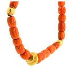Tibetan Coral Gold Bead Necklace