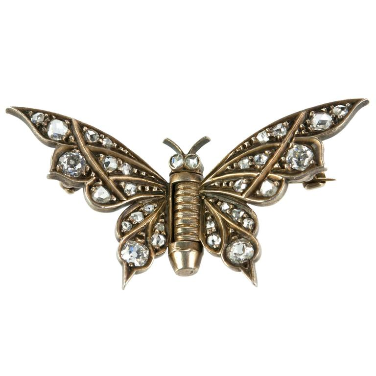 Victorian Diamond Gold Butterfly Brooch