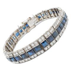 1920s Sapphire Diamond Platinum Tennis Bracelet