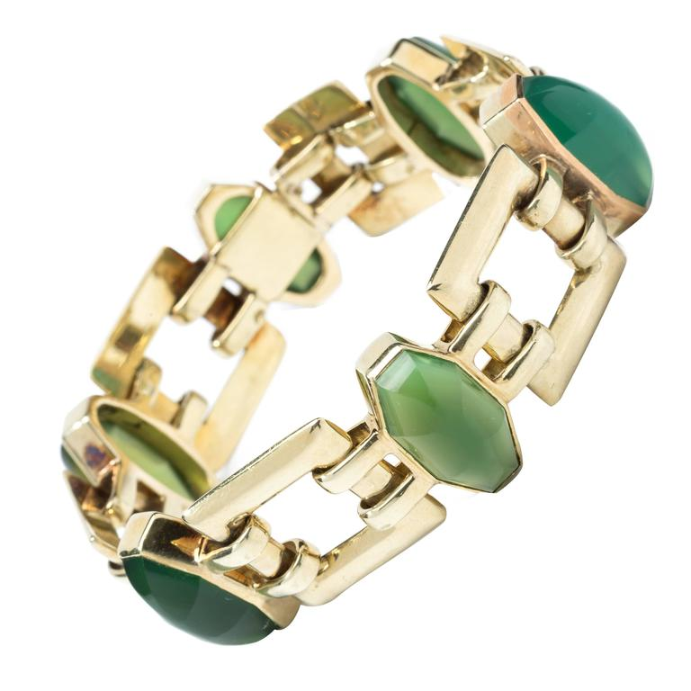 Chrysoprase Gold Link Bracelet