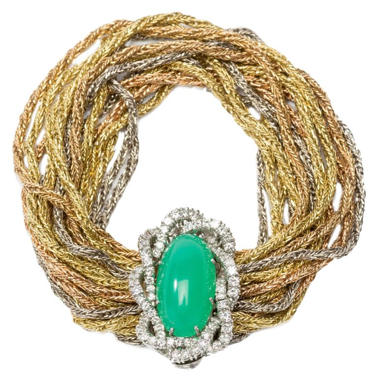 Chrysoprase Cabochon Diamond Braided Gold Bracelet