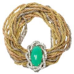 Chrysoprase Cabochon Diamond Braided Gold Bracelet