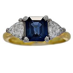 Sapphire Diamond Gold Engagement Ring