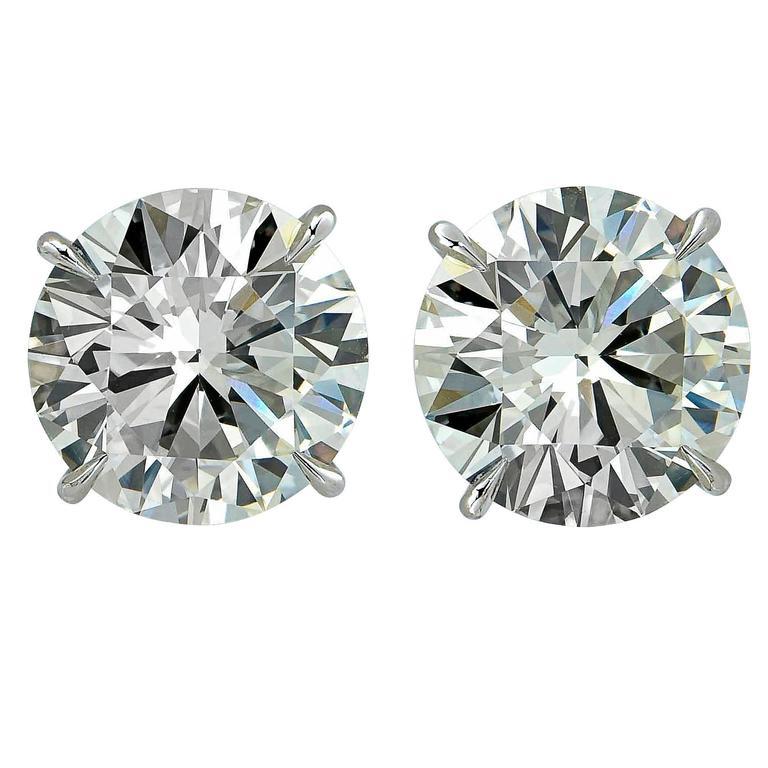 Stunning 7.38 Carat Solitaire Diamond Platinum Stud Earrings