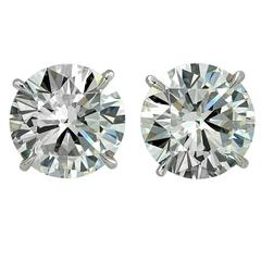 Vivid Diamonds 7.38 Carat Solitaire Diamond Platinum Stud Earrings