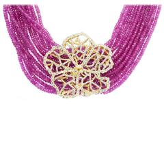 Stambolian Pink Sapphire Bead Diamond Gold Hibiscus Necklace
