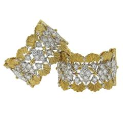 Buccellati Diamond Gold Hoop Earrings