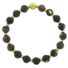 Elizabeth Gage Agate Bead Gold Necklace