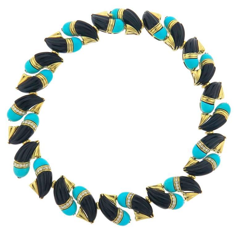 Hammerman Brothers Impressive Turquoise Onyx Diamond Gold Necklace
