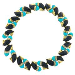 Hammerman Brothers Impressive Turquoise Onyx Diamond Gold Necklace