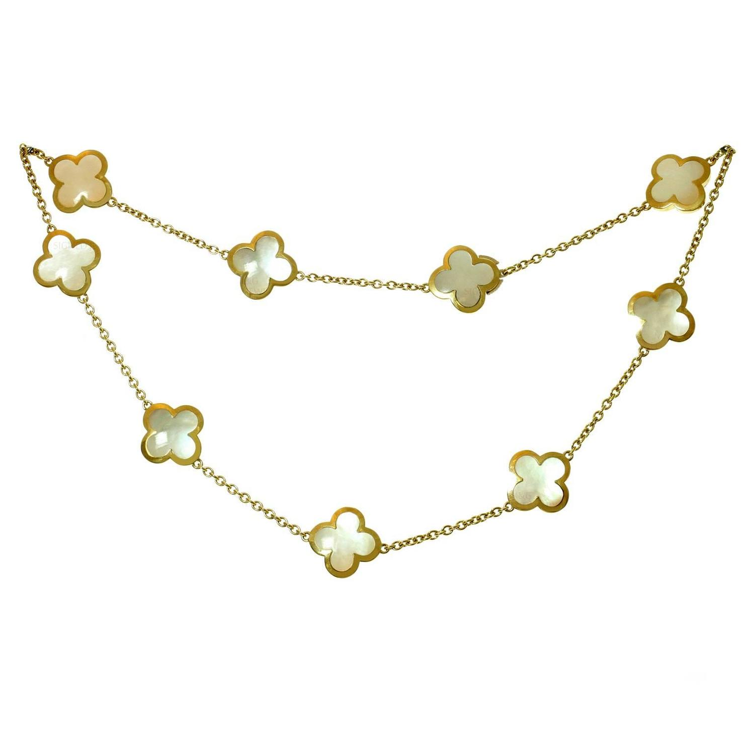 Van Cleef And Arpels Mother Of Pearl Necklace: Van Cleef And Arpels Pure Alhambra Mother-of-Pearl Gold 9