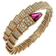 Bulgari Serpenti Rubellite Diamond Gold Bracelet