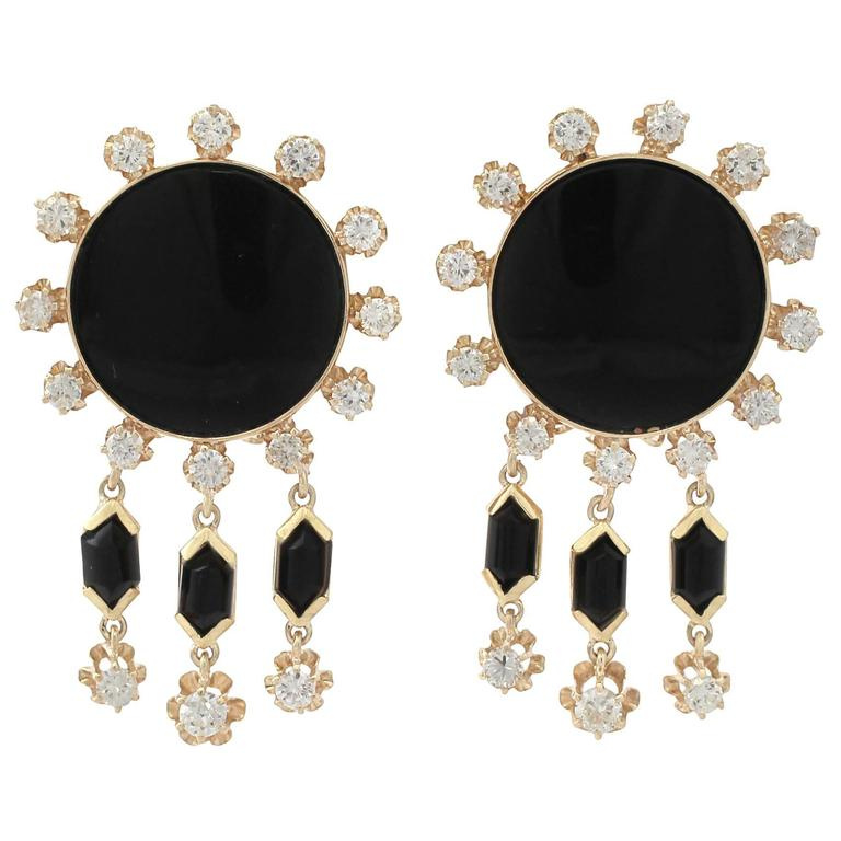 1.40Ct Diamond and Onyx, 14k Yellow Gold Drop Earrings - Vintage Circa 1950
