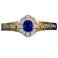 Antique Unheated Burma Sapphire Diamond Gold Bangle Bracelet