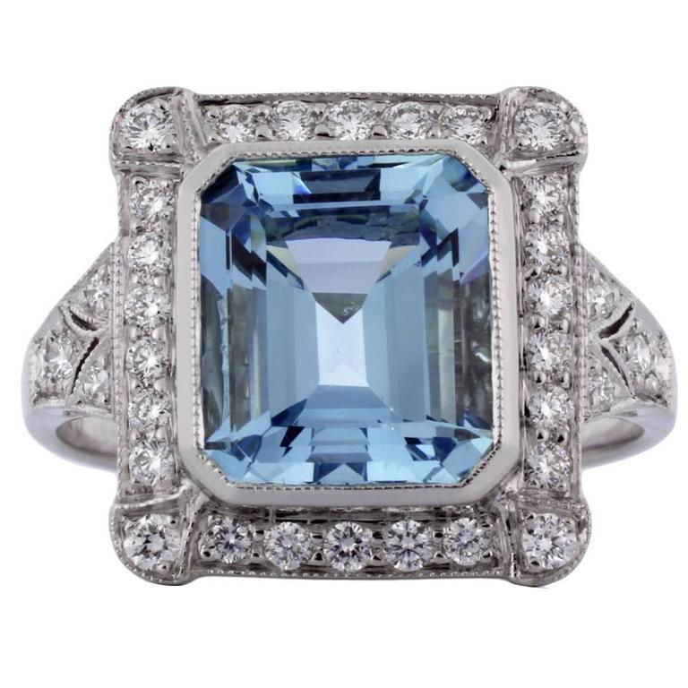 2.64 Carat Aquamarine Diamond Platinum Ring