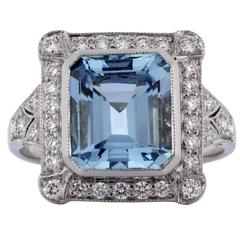 2.64 Carat Aquamarine Diamond Platinum Ring