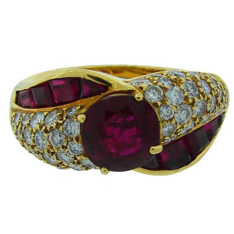 1980s Graff Ruby Diamond Gold Ring