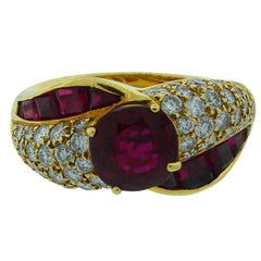 Vintage GRAFF Ruby Diamond 18k Yellow Gold Ring 2.06 cts AGL Report