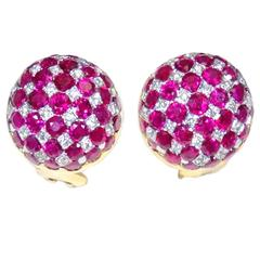 Ruby Diamond Gold Platinum Earrings