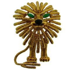 Van Cleef & Arpels Chrysoprase Black Onyx Gold Lion Clip Pin Brooch