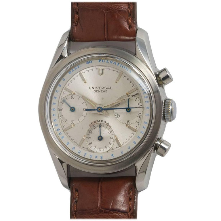 Universal Geneve Stainless Steel Doctors Pulsation Chronograph Manual Watch  For Sale