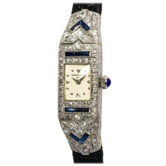 Vacheron Constantin Ladies Platinum Diamond Sapphire Manual Watch