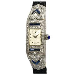 Vacheron Constantin Ladies Platinum Diamond Sapphire Manual Wristwatch