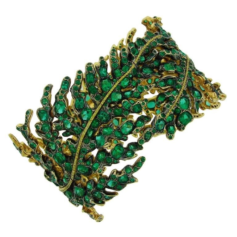 Michele della Valle Emerald Fancy Yellow Diamond Gold Bracelet