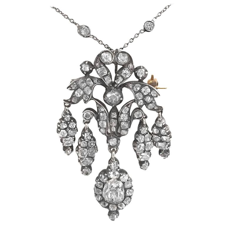 Outstanding Victorian 4 Carat Diamond Silver Gold Convertible Pendant/Brooch For Sale