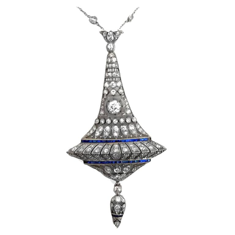Very Fine Art Deco Sapphire Diamond Platinum Pendant For Sale