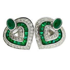 Heart-Shaped Emerald Diamond Gold Earrings