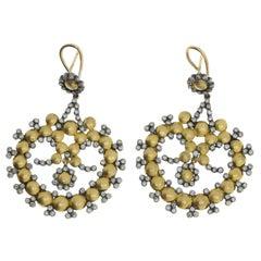 Modern Diamond Gold Dangle Earrings