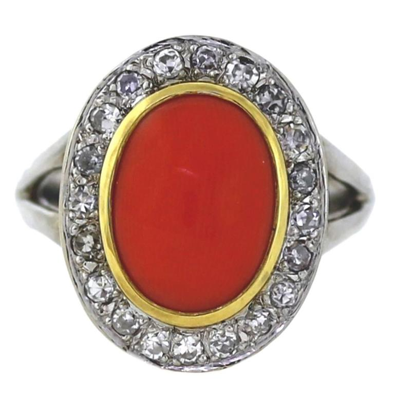 Red Coral Diamond Gold Ring For Sale