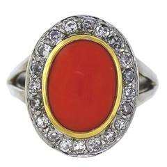 Red Coral Diamond Gold Ring