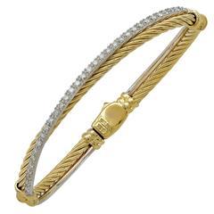 David Yurman Diamond Gold Bangle Bracelet