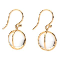 Rock Crystal Gold Wrapped Ball Hanging Earrings on Wire