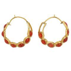 Early Victorian Carnelian Gold Hoop Earrings