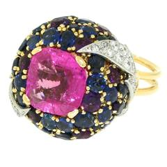 1960s Schlumberger Natural Pink Sapphire Diamond Gold Platinum Bombe Ring