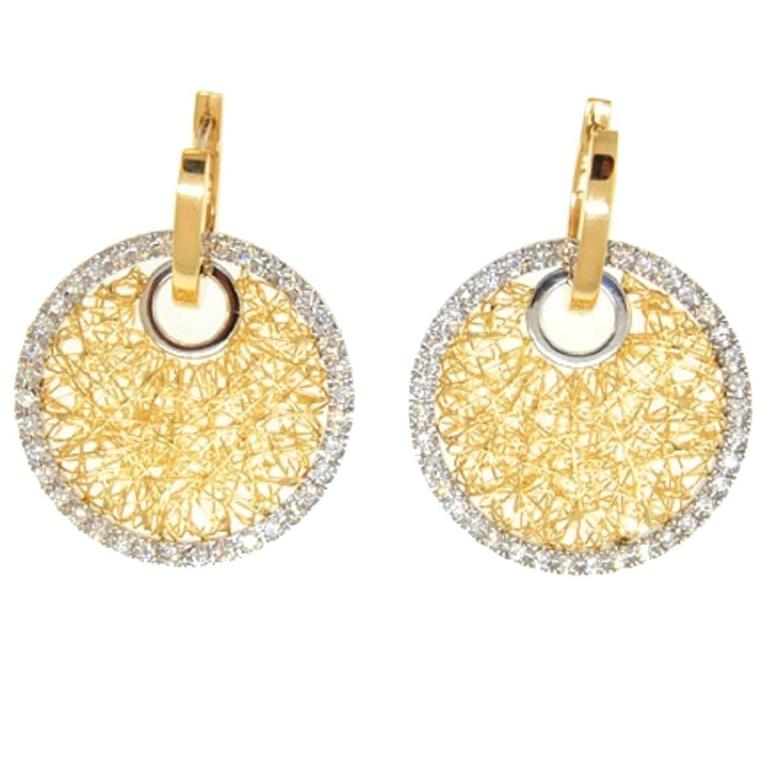 Diamond Gold Circle Mesh Earrings For Sale