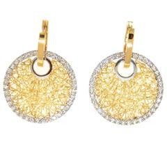 Diamond Gold Circle Mesh Earrings