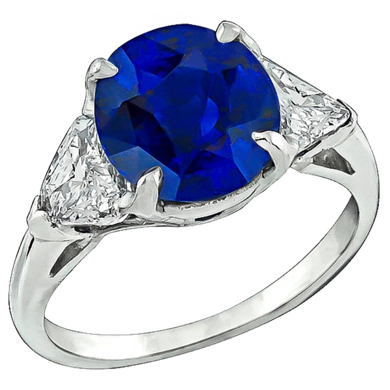 Amazing 3 17 Carat Sapphire Diamond Platinum Engagement