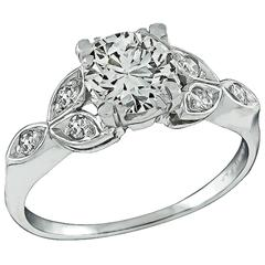 Charming 0.90 Carat Diamond Platinum Engagement Ring