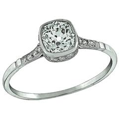 0.78 Carat Old MIne Cushion Cut Diamond Platinum Engagement Ring