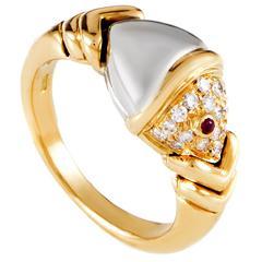 Bulgari Naturalia Diamond Ruby Multicolor Gold Fish Ring