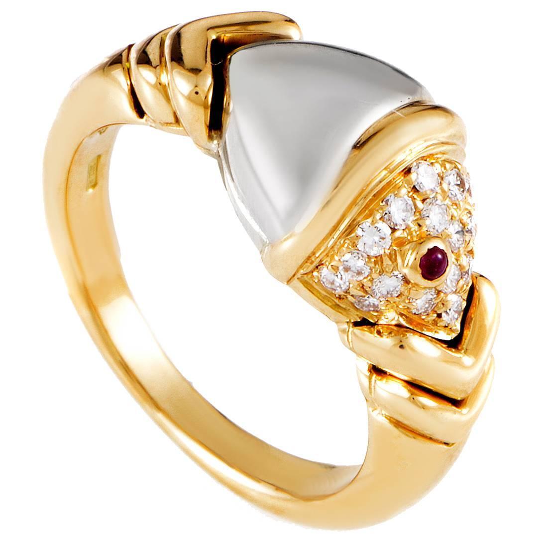 bulgari naturalia diamond and ruby gold fish ring