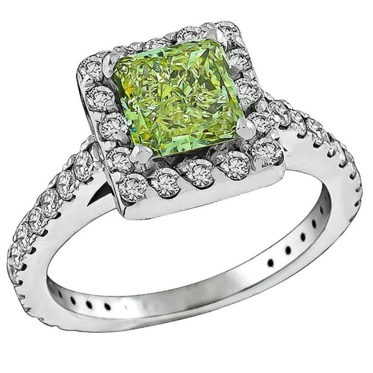 1.18 Carat GIA Cert Natural Fancy Diamond Gold Engagement Ring